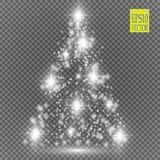 Christmas Tree made, White glitter bokeh lights and sparkles. Shining star, sun particles and sparks with lens flare Royalty Free Stock Images