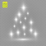 Christmas Tree made, White glitter bokeh lights and sparkles. Shining star, sun particles and sparks with lens flare royalty free illustration