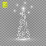Christmas Tree made, White glitter bokeh lights and sparkles. Shining star, sun particles and sparks with lens flare stock illustration