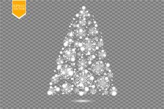 Christmas Tree made, White glitter bokeh lights and sparkles. Shining star, sun particles and sparks with lens flare. Effect on transparent background. Vector stock illustration