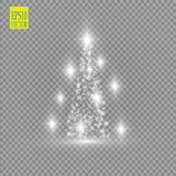 Christmas Tree made, White glitter bokeh lights and sparkles. Shining star, sun particles and sparks with lens flare. Effect on transparent background. Vector vector illustration