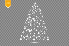 Christmas Tree made, White glitter bokeh lights and sparkles. Shining star, sun particles and sparks with lens flare. Effect on transparent background. Vector royalty free illustration