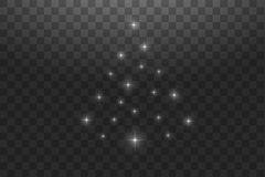 Christmas Tree made. White glitter bokeh lights and sparkles. Shining star, sun particles and sparks with lens flare. Effect on transparent background. Vector vector illustration