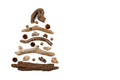 Christmas tree made of wood - copy space Stock Images