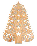 Christmas tree made of wood. Wooden Christmas tree with shadow on white background Royalty Free Stock Photo