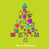 Christmas Tree Made of Xmas icons and elements Royalty Free Stock Photos
