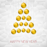 Christmas tree made from yellow balls. Vector illustration template for your greeting card Royalty Free Stock Images