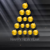 Christmas tree made from yellow balls. Vector illustration template for your greeting card Royalty Free Stock Photo