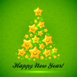 Christmas tree made from yellow cute shining Stock Image
