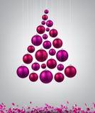 Christmas tree with magenta christmas balls. Royalty Free Stock Photo