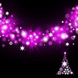 Christmas tree from magenta snowflakes Royalty Free Stock Images