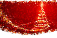 Christmas Tree. Magic Christmas tree and snowflakes on a red background Stock Images