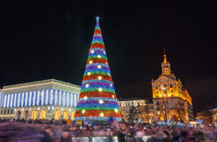 Christmas tree on Maidan Nezalezhnosti in Kiev, Ukraine Royalty Free Stock Images