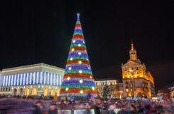 Christmas tree on Maidan Nezalezhnosti in Kiev, Ukraine Royalty Free Stock Images