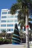 Christmas tree in the main square on Grand Cayman. Cayman Islands Stock Photos
