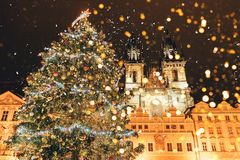 Christmas tree on the main square in Prague stock image