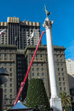Christmas tree in the making at Union Square, San Francisco Stock Image