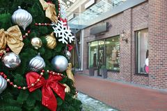 Christmas tree in mall. Christmas tree in shopping mall Royalty Free Stock Photography