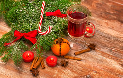 Christmas Tree, Mandarine, Glogg And Candles Royalty Free Stock Photo