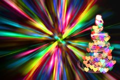 Christmas tree with many colors in the dark nigt. Christmas tree with many colors Stock Photos