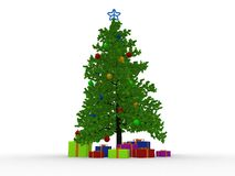 Christmas tree and many gifts Stock Images