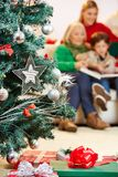 Christmas tree with many gifts royalty free stock image
