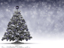 Christmas tree and many snowflakes in background Royalty Free Stock Photography