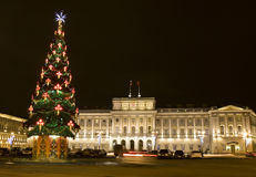 Christmas tree and Mariinskiy palace, St. Petersburg Royalty Free Stock Image