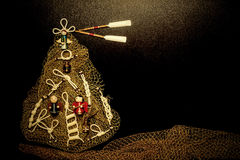 Christmas tree marine style card.Copyspace Royalty Free Stock Photography