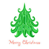 Christmas tree, Marry Christmas card with snowflakes seamless ba Stock Images