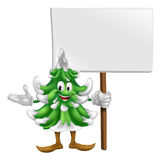 Christmas tree mascot with sign Royalty Free Stock Images