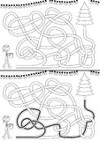 Christmas tree maze. For kids with a solution in black and white royalty free illustration