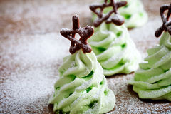 Christmas tree meringues stock image