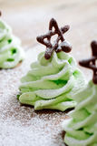 Christmas tree meringues Royalty Free Stock Photos