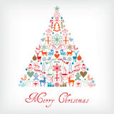 Christmas tree - Merry Chrismas greeting card Stock Photos