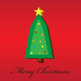 Christmas tree and Merry Christmas. Christmas tree with Merry Christmas phrase Royalty Free Stock Images