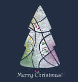 Christmas tree. Merry Christmas greeting card Royalty Free Stock Image