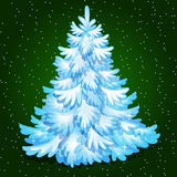 Christmas tree, merry Christmas greeting card. Winter snow Christmas tree, merry Christmas greeting card Stock Photography