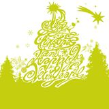 Christmas tree with merry christmas and happy new year royalty free illustration