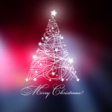 Christmas tree with Merry Christmas text, and with shining with stars. Royalty Free Stock Photography