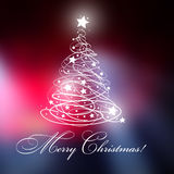 Christmas tree with Merry Christmas text, and with shining with stars. Royalty Free Stock Photo
