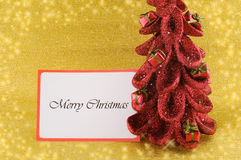 Christmas tree and Merry Christmas wishes royalty free stock photo