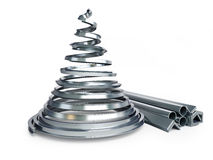 Christmas tree metal. On a white background Royalty Free Stock Images