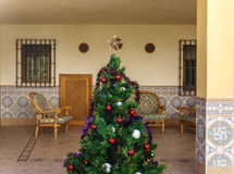 A christmas tree in the middle of the patio Stock Images
