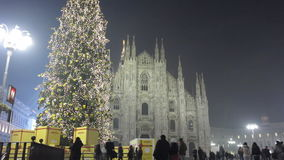 Christmas tree in Milan stock footage