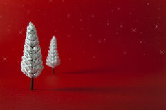 Christmas Tree. Miniature Christmas Tree on red background Stock Photography