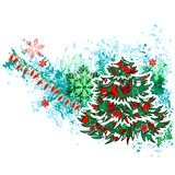 Christmas Tree with Modern Grunge Elements. Modern Christmas Tree with Garland and Snowflakes Stock Image