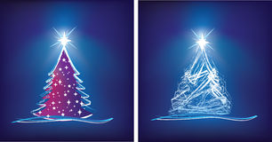 Christmas tree modern illustration in blue Stock Photography