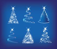 Christmas tree modern illustration set of 6. Christmas trees modern illustration in a loose abstract style on blue Royalty Free Stock Photography