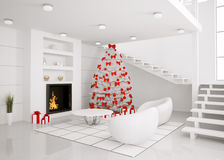 Christmas tree in the modern interior 3d render. Christmas fir tree in the modern white room with fireplace interior 3d render Royalty Free Stock Photography